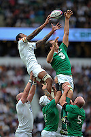 Courtney Lawes of England competes with Devin Toner of Ireland for the ball at a lineout. QBE International match between England and Ireland on September 5, 2015 at Twickenham Stadium in London, England. Photo by: Patrick Khachfe / Onside Images