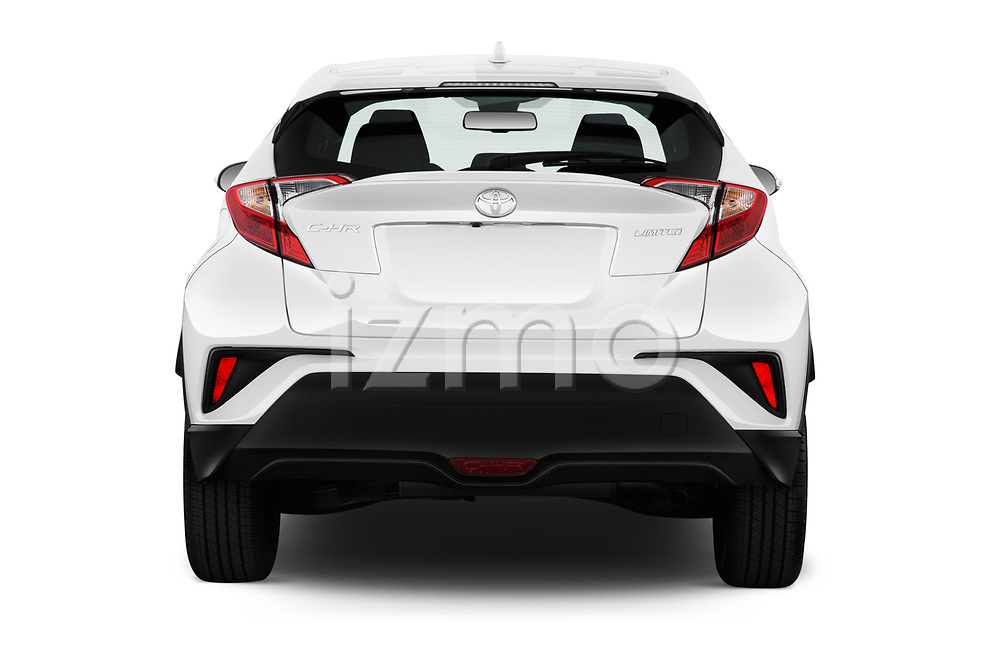 Straight rear view of 2019 Toyota C-HR Limited Door SUV Rear View  stock images