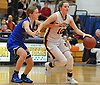 Hannah Stockman #10 of Northport, right, gets pressured by Samantha Groark #5 of Glenn during a Suffolk Shootout tournament game at Northport High School on Thursday, Dec. 28, 2017. Stockman scored a game-high 19 points to lead Northport to a 65-35 win.