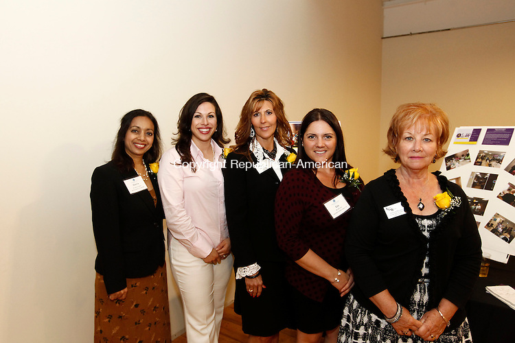 Watertown, CT- 11 June 2014-061114CM13-  Social Moments-- left to right: Aparna Phadnis of Bentley Systems, Sarah Elizabeth DiMeo, Executive Director at Acts 4 Ministry, Terri Carrier, Ion Bank, Eda Llulla of St. Mary's Hospital and Patricia Muzyka of the Savings Bank of Danbury in Waterbury, photographed during The Waterbury Regional Chamber's 2014 Leadership Class graduation at Bentley Systems in Watertown on Wednesday.   Christopher Massa Republican-American