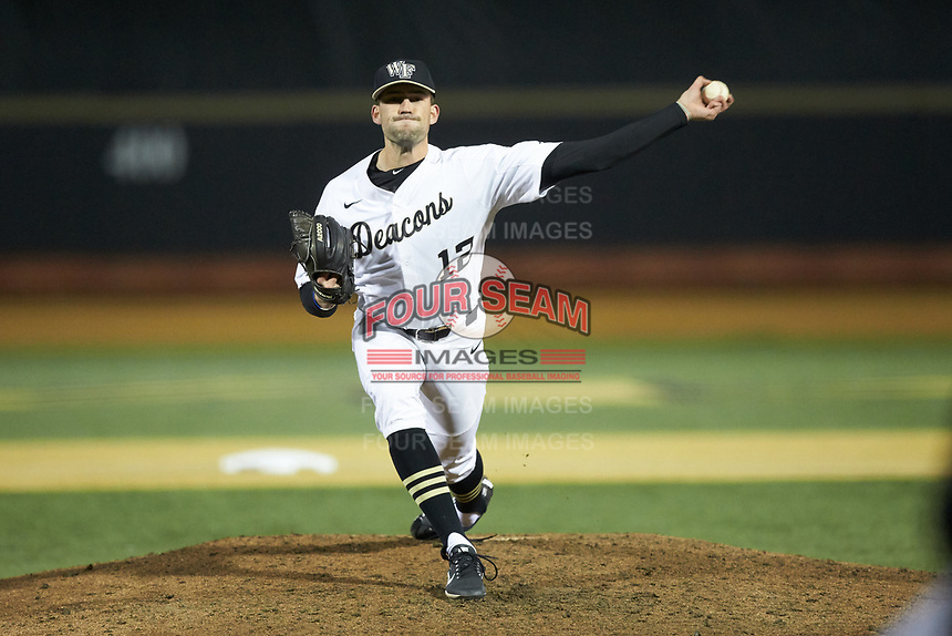 Wake Forest Demon Deacons relief pitcher Tyler Witt (12) in action against the Florida State Seminoles at David F. Couch Ballpark on March 9, 2018 in  Winston-Salem, North Carolina.  The Seminoles defeated the Demon Deacons 7-3.  (Brian Westerholt/Four Seam Images)