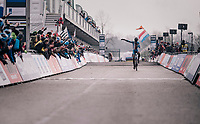 Tomas Kopecky (CZE) finishing 2nd with a 'dap'<br /> <br /> Junior Men's Race<br /> UCI CX Worlds 2018<br /> Valkenburg - The Netherlands