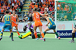 The Hague, Netherlands, June 14: During the field hockey gold medal match (Women) between Australia and The Netherlands on June 14, 2014 during the World Cup 2014 at Kyocera Stadium in The Hague, Netherlands. Final score 2-0 (2-0)  (Photo by Dirk Markgraf / www.265-images.com) *** Local caption *** Madonna Blyth #12 of Australia, Kim Lammers #23 of The Netherlands, Rachael Lynch #27 of Australia, Lidewij Welten #12 of The Netherlands, Kirstin Dwyer #6 of Australia