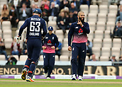 29th September 2017, Ageas Bowl, Southampton, England; One Day International Series, England versus West Indies; Moeen Ali of England celebrates taking the wicket of West Indies Marlon Samuels