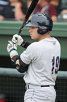Infielder Dante Bichette, Jr. (19) of the Charleston RiverDogs, a New York Yankees affiliate, prior to a game against the Greenville Drive on June 24, 2012, at Fluor Field at the West End in Greenville, South Carolina. Charleston won, 7-5. Bichette is the Yankees' No. 6 prospect, according to Baseball America and was a first-round draft pick in 2011. (Tom Priddy/Four Seam Images)