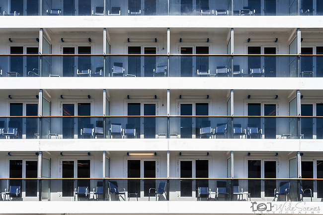 View of all the balcony cabins on-board Carnival cruise ship whilst it was berthed at the Overseas Passenger Terminal in Sydney, NSW, Australia