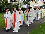 Priests enter Sacred Heart Laytown for the 25th anniversary mass of the ordination to the priesthood of Fr. Denis McNelis. Photo:Colin Bell/pressphotos.ie