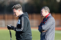 Pictured: Coaches. Thursday 18 January 2018<br /> Re: Players and staff of Newport County Football Club prepare at Newport Stadium, for their FA Cup game against Tottenham Hotspur in Wales, UK