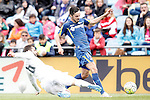 Getafe's Pablo Sarabia (r) and Real Madrid's Nacho Fernandez during La Liga match. April 16,2016. (ALTERPHOTOS/Acero)