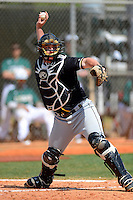 St. Bonaventure Bonnies catcher Nick Lohrer #11 during a game against the Chicago State University Cougars at South County Regional Park on March 3, 2013 in Punta Gorda, Florida.  St. Bonaventure defeated Chicago State 16-3.  (Mike Janes/Four Seam Images)