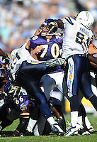 Sep. 20, 2009; San Diego, CA, USA; Baltimore Ravens long snapper (70) Matt Katula against the San Diego Chargers at Qualcomm Stadium in San Diego. Baltimore defeated San Diego 31-26. Mandatory Credit: Mark J. Rebilas-