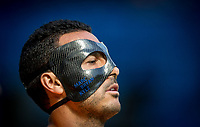 Pedro of Chelsea wears a face mask displaying his children's names MARC, BRYAN & KYLE during the Premier League match between Chelsea and Everton at Stamford Bridge, London, England on 27 August 2017. Photo by Andy Rowland.