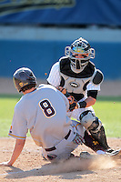 Kellen Hoime #3 of the Long Beach State Dirtbags tags a runner out at home plate during a game against the Arizona State Sun Devils at Blair Field on March 11, 2012 in Long Beach,California. Arizona State defeated Long Beach State 6-1.(Larry Goren/Four Seam Images)