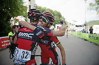 Samuel Sanchez (ESP/BMC) congratulates teammate Philippe Gilbert (BEL/BMC) with his victory (and new overall leadership)<br /> <br /> Ster ZLM Tour 2014<br /> stage 4: Hotel Verviers - La Gileppe (187km)