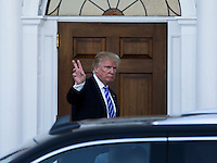 United States President-elect Donald Trump re-enters to the clubhouse of Trump International Golf Club, November 19, 2016 in Bedminster Township, New Jersey. <br /> Credit: Aude Guerrucci / Pool via CNP /MediaPunch
