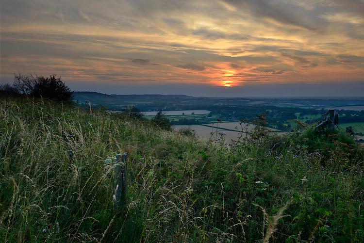 Summer sunset over the Berkshire Downs near Kingsclere