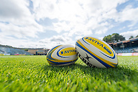 A general view of Bath Rugby branded balls prior to the match. Aviva Premiership match, between Bath Rugby and Saracens on September 9, 2017 at the Recreation Ground in Bath, England. Photo by: Patrick Khachfe / Onside Images