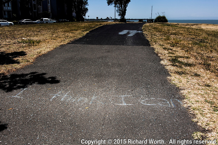 A message, perhaps motivation, scratched in chalk on the path at Alameda Beach on San Francisco Bay.