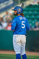 Ronny Brito (5) of the Ogden Raptors during a game against the Great Falls Voyagers at Lindquist Field on August 21, 2018 in Ogden, Utah. Great Falls defeated Ogden 14-5. (Stephen Smith/Four Seam Images)