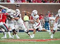 NWA Democrat-Gazette/CHARLIE KAIJO Arkansas Razorbacks quarterback Ben Hicks (6) throws a pass during the first quarter of a football game, Saturday, September 7, 2019 at Vaught-Hemingway Stadium in Oxford, Miss.