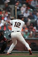 SAN FRANCISCO, CA - APRIL 11:  Joe Panik #12 of the San Francisco Giants bats against the Arizona Diamondbacks during the game at AT&T Park on Wednesday, April 11, 2018 in San Francisco, California. (Photo by Brad Mangin)