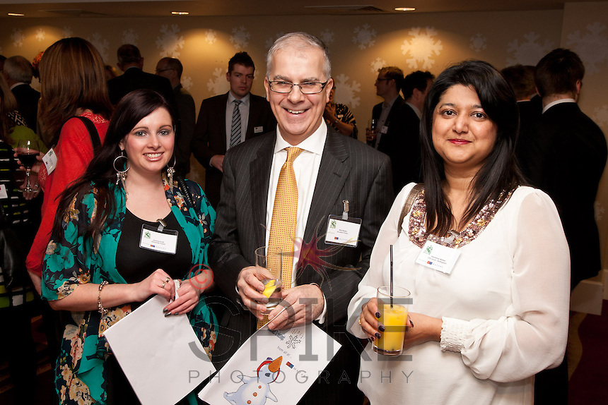 Ready to party are Gemma Smith and Nick Boyes of Alexander Forbes with Shamshad Walker of City Local Nottingham,