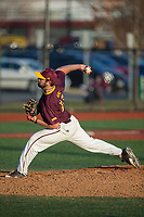 Iona Gaels relief pitcher Jake Kurz (12) in action against the Rutgers Scarlet Knights at City Park on March 8, 2017 in New Rochelle, New York.  The Scarlet Knights defeated the Gaels 12-3.  (Brian Westerholt/Four Seam Images)