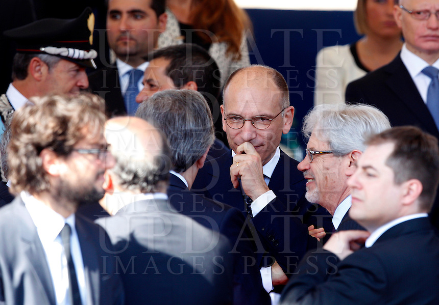 Il Presidente del Consiglio Enrico Letta poco prima dell'inizio della parata militare in occasione del 67esimo anniversario della proclamazione della Repubblica Italiana, ai Fori Imperiali, Roma, 2 giugno 2013.<br /> Italian Premier Enrico Letta prior to the start of the military parade in occasion of the Italian Republic Day, in Rome, 2 june 2013.<br /> UPDATE IMAGES PRESS/Riccardo De Luca