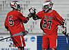 Michael Incantalupo #27, right, and Rich Ventura #5 of Floral Park celebrate after a goal in the Nassau County varsity boys lacrosse Class C semifinals against Cold Spring Harbor at Shuart Stadium, located on the campus Hofstra University in Hempstead, on Thursday, May 24, 2018.