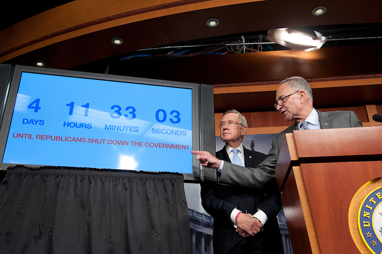 UNITED STATES - Sept 26 : Democratic Leadership holds a news conference on the continuing resolution with a count down clock rolling at 4 days and change for government shutdown. Senate Majority Leader Harry Reid, D-Nev., Senate Majority Whip Richard Durbin, D-Ill., Barbara A. Mikulski, D-Md., Sen. Charles Schumer, D-N.Y., and Sen. Patty Murray, D-Wash., all attended the press conference in the Senate Studio of the U.S. Capitol on September 26, 2013. (Photo By Douglas Graham/CQ Roll Call)