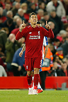 Roberto Firmino of Liverpool celebrates scoring his side's 2nd goal during the UEFA Champions League Quarter Final first leg match between Liverpool and Porto at Anfield on April 9th 2019 in Liverpool, England. (Photo by Daniel Chesterton/phcimages.com)<br /> Foto PHC/Insidefoto <br /> ITALY ONLY