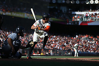 SAN FRANCISCO, CA - APRIL 3:  Hunter Pence #8 of the San Francisco Giants bats against the Seattle Mariners during the game at AT&T Park on Tuesday, April 3, 2018 in San Francisco, California. (Photo by Brad Mangin)