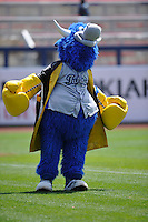 Tulsa Drillers mascot, Hornsby, performs prior to the game against the Northwest Arkansas Naturals at Oneok Stadium on May 1, 2016 in Tulsa, Oklahoma.  Northwest Arkansas won 7-5.  (Dennis Hubbard/Four Seam Images)