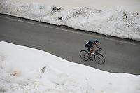 Nicolas Roche (IRL/SKY) up the snow-covered Colle dell'Agnello (2744m)<br /> <br /> stage 19: Pinerolo(IT) - Risoul(FR) 162km<br /> 99th Giro d'Italia 2016