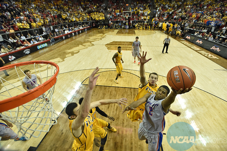 13 MAR 2015: University of Wyoming takes on Boise State University during the 2015 Men's Mountain West Basketball Championship at the Thomas and Mack Center in Las Vegas, NV. Justin Tafoya/NCAA Photos