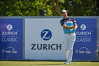 Padraig Harrington (IRL) watches his tee shot on 18 during Round 1 of the Zurich Classic of New Orl, TPC Louisiana, Avondale, Louisiana, USA. 4/26/2018.<br /> Picture: Golffile | Ken Murray<br /> <br /> <br /> All photo usage must carry mandatory copyright credit (&copy; Golffile | Ken Murray)