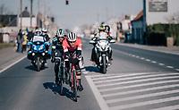 Jasper Stuyven (BEL/Trek-Segafredo) &amp; Dani&euml;l Oss (ITA/Bora Hansgrohe) try to stay away from a chasing peloton <br /> <br /> 70th Kuurne-Brussel-Kuurne 2018<br /> Kuurne &rsaquo; Kuurne: 200km (BELGIUM)