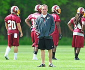 Washington Redskin Head Coach Mike Shanahan looks on as players participate in the Washington Redskins' rookie minicamp at Redskins Park in Ashburn, Virgina on Sunday, May 5, 2013..Credit: Ron Sachs / CNP