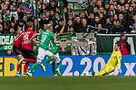 02.11.2019, wohninvest WESERSTADION, Bremen, GER, 1.FBL, Werder Bremen vs SC Freiburg<br /> <br /> DFL REGULATIONS PROHIBIT ANY USE OF PHOTOGRAPHS AS IMAGE SEQUENCES AND/OR QUASI-VIDEO.<br /> <br /> im Bild / picture shows<br /> Nils Petersen (SC Freiburg #18), <br /> Davy Klaassen (Werder Bremen #30), <br /> Jiri Pavlenka (Werder Bremen #01), <br /> <br /> Foto © nordphoto / Ewert