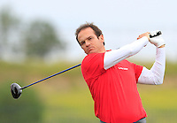 Alvero Valasco (ESP) on the 1st tee during Round 1 of the Challenge de Madrid, a Challenge  Tour event in El Encin Golf Club, Madrid on Wednesday 22nd April 2015.<br /> Picture:  Thos Caffrey / www.golffile.ie