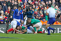 Sunday10th March 2019 | Ireland vs France<br /> <br /> Jack Conan scores during the Guinness 6 Nations clash between Ireland and France at the Aviva Stadium, Lansdowne Road, Dublin, Ireland. Photo by John Dickson / DICKSONDIGITAL