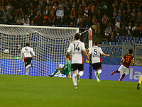 AS Roma's Mohamed Salah   shoots and scores during the Champions League Group E soccer match between As Roma and  Bayer Leverkusen at the Olympic Stadium in Rome, November 04 2015