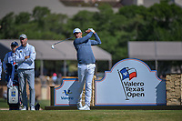 Julian Suri (USA) watches his tee shot on 11 during Round 4 of the Valero Texas Open, AT&amp;T Oaks Course, TPC San Antonio, San Antonio, Texas, USA. 4/22/2018.<br /> Picture: Golffile | Ken Murray<br /> <br /> <br /> All photo usage must carry mandatory copyright credit (&copy; Golffile | Ken Murray)