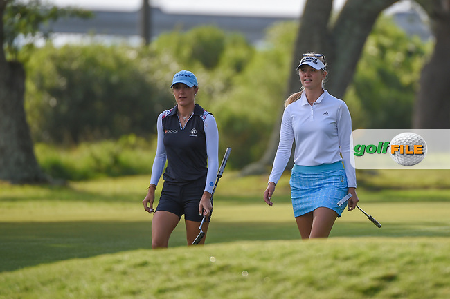 Jaye Marie Green (USA) and Jessica Korda (USA) make their way down 10 during round 2 of the 2019 US Women's Open, Charleston Country Club, Charleston, South Carolina,  USA. 5/31/2019.<br /> Picture: Golffile | Ken Murray<br /> <br /> All photo usage must carry mandatory copyright credit (© Golffile | Ken Murray)