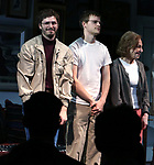 "Michael Cera, Lucas Hedges and Elaine May during the Opening Night Curtain Call bows for ""The Waverly Gallery"" at the Golden Theatre on October 25, 2018 in New York City."