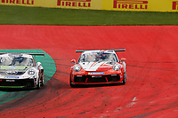 12th July 2020; Spielberg, Austria;  Porsche Mobil 1 Supercup race day;  10 Marius Nakken N, Dinamic Motorsport 31 Daan van Kuijk NL, GP Elite held at Spielberg Austria