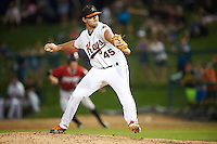 Frederick Keys relief pitcher Cory Jones (45) during a game against the Carolina Mudcats on June 4, 2016 at Nymeo Field at Harry Grove Stadium in Frederick, Maryland.  Frederick defeated Carolina 5-4 in eleven innings.  (Mike Janes/Four Seam Images)