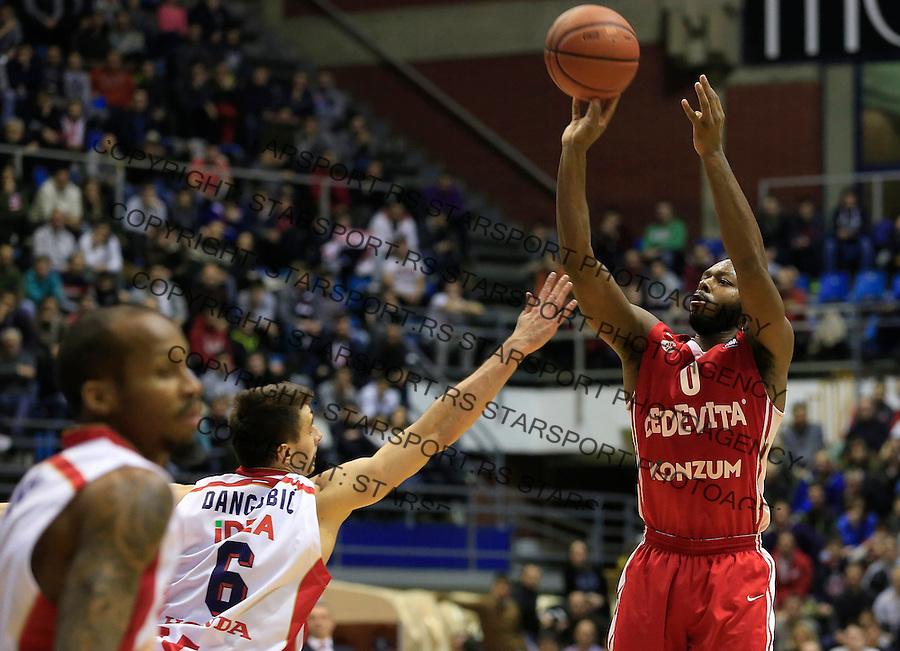 Kosarka ABA League season 2015-2016<br /> Crvena Zvezda v Cedevita<br /> Jacob Pullen (R) and Nemanja Dangubic<br /> Beograd, 04.01.2015.<br /> foto: Srdjan Stevanovic/Starsportphoto&copy;