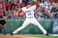 Buffalo Bisons pitcher Aaron Sanchez (24) delivers a pitch during a game against the Durham Bulls on July 10, 2014 at Coca-Cola Field in Buffalo, New  York.  Durham defeated Buffalo 3-2.  (Mike Janes/Four Seam Images)