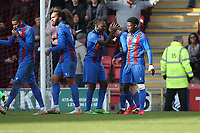 Danny Parish of Maldon scores the first goal for his team and celebrates with his team mates during Leyton Orient vs Maldon & Tiptree, Emirates FA Cup Football at The Breyer Group Stadium on 10th November 2019
